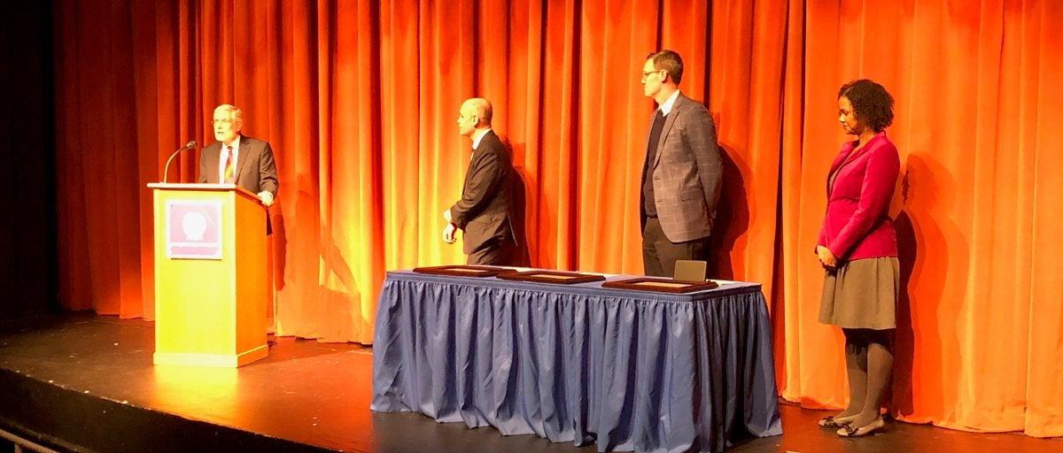 Manus Patten receiving an award