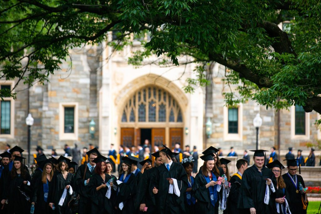 Hoya graduates during commencement.